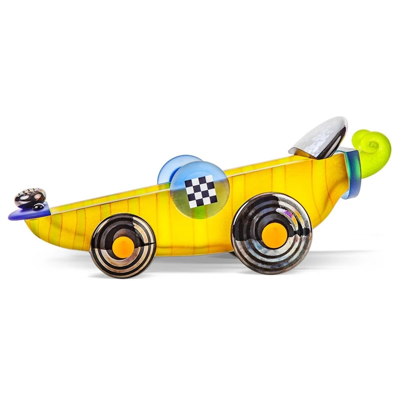 Turbo Race Car Glass Bowl  Sculpture Yellow