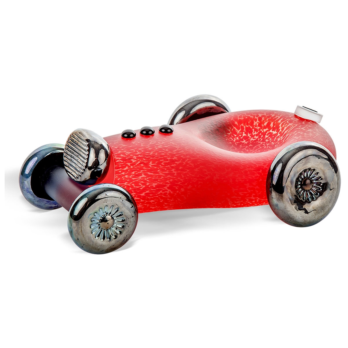 Sonic Boom Race Car Glass Bowl  Sculpture Red