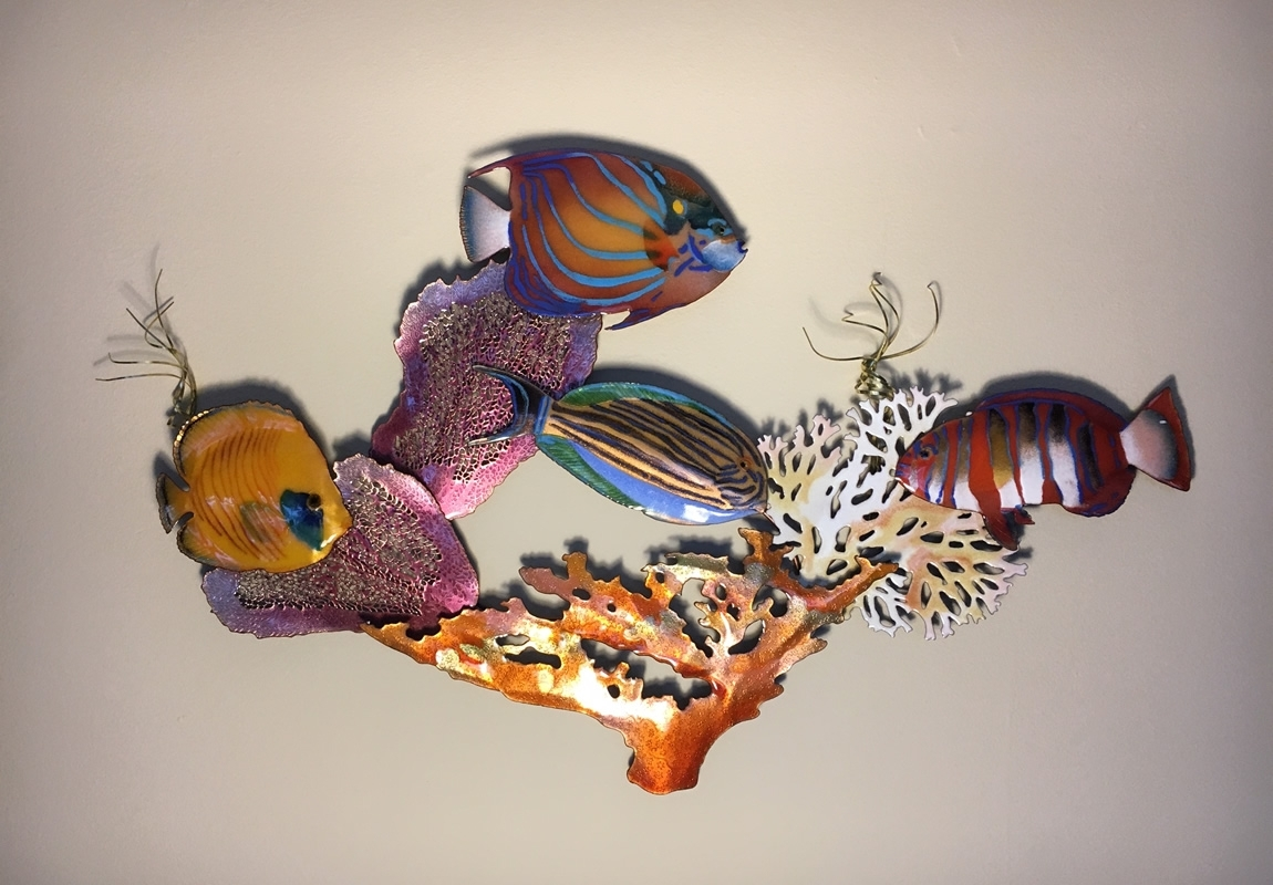 Tropical Fish Scene Metal Wall Art Sculpture by Bovano of ...